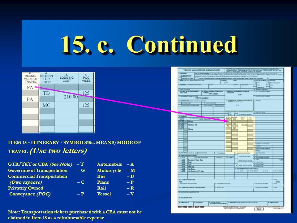 15. c. Continued ITEM 15 - ITINERARY - SYMBOLS15c.