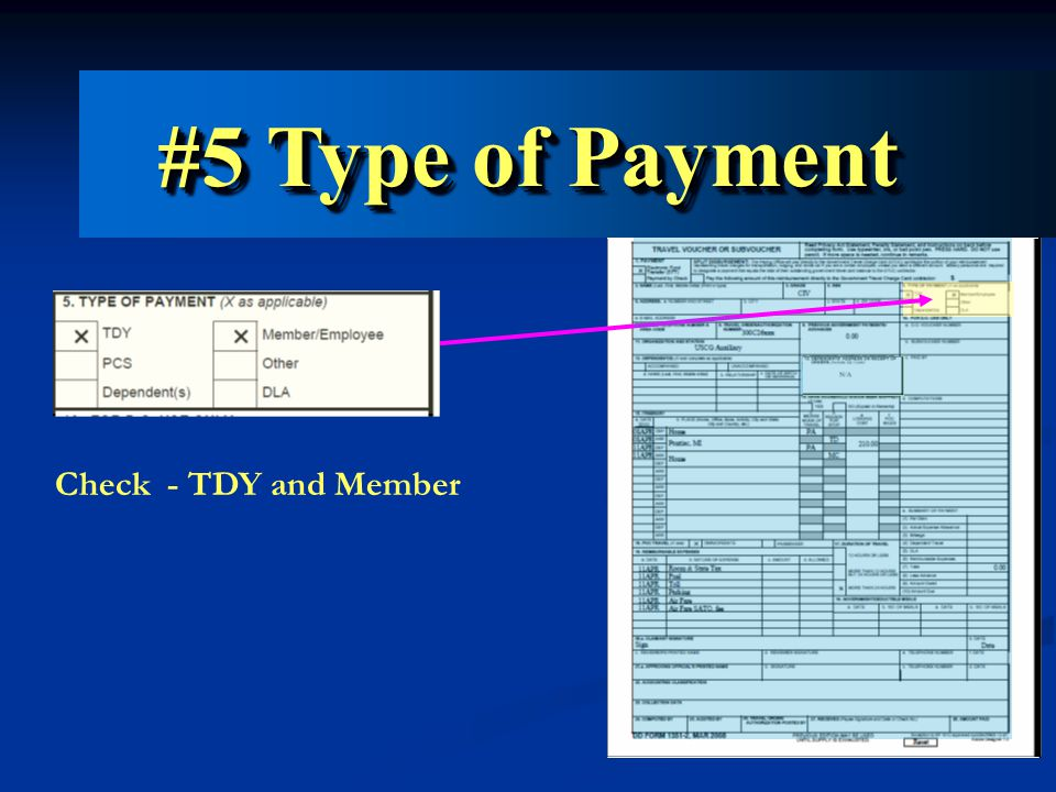 Check - TDY and Member #5 Type of Payment