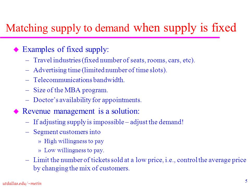 utdallas.edu/~metin 5 Matching supply to demand when supply is fixed u Examples of fixed supply: –Travel industries (fixed number of seats, rooms, car