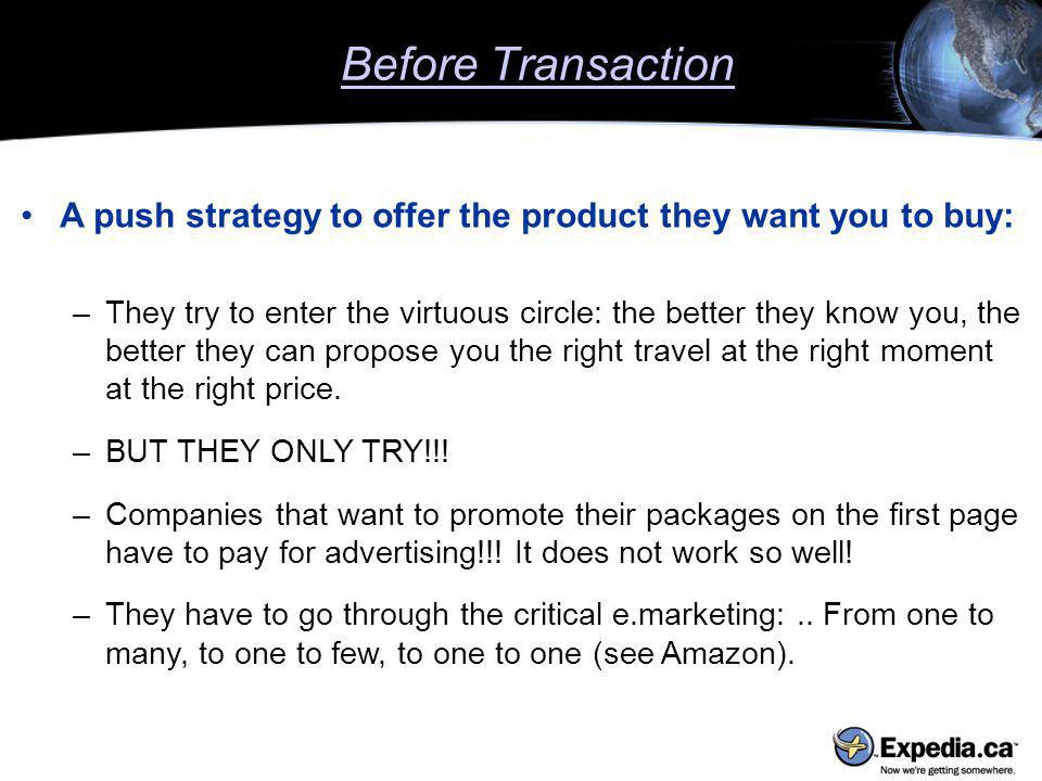A push strategy to offer the product they want you to buy: –They try to enter the virtuous circle: the better they know you, the better they can propose you the right travel at the right moment at the right price.