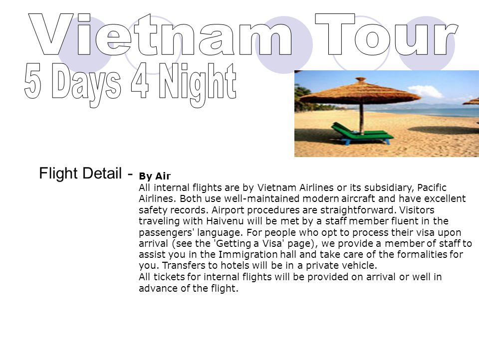 Expenditure For the Tour to Vietnam