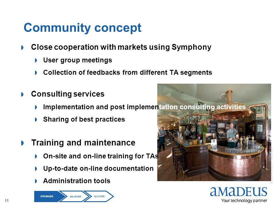 © 2009 Amadeus IT Group SA 11 Community concept Close cooperation with markets using Symphony User group meetings Collection of feedbacks from differe