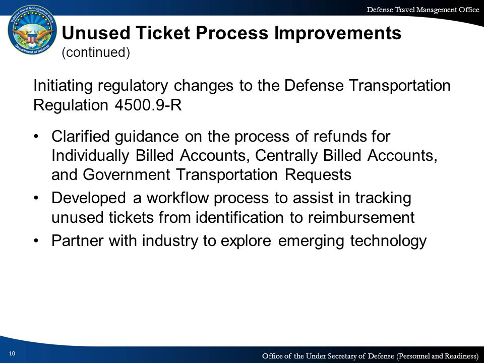 Defense Travel Management Office Office of the Under Secretary of Defense (Personnel and Readiness) Unused Ticket Process Improvements (continued) Ini