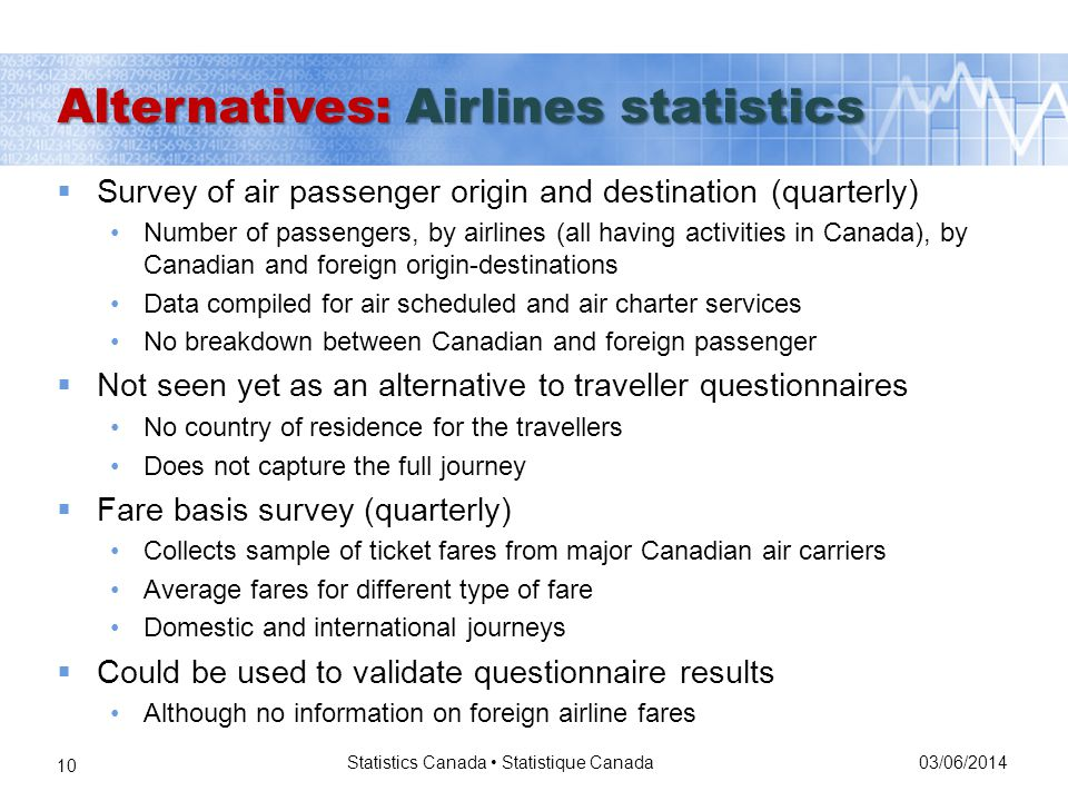 03/06/2014 Statistics Canada Statistique Canada 10 Survey of air passenger origin and destination (quarterly) Number of passengers, by airlines (all having activities in Canada), by Canadian and foreign origin-destinations Data compiled for air scheduled and air charter services No breakdown between Canadian and foreign passenger Not seen yet as an alternative to traveller questionnaires No country of residence for the travellers Does not capture the full journey Fare basis survey (quarterly) Collects sample of ticket fares from major Canadian air carriers Average fares for different type of fare Domestic and international journeys Could be used to validate questionnaire results Although no information on foreign airline fares Alternatives: Airlines statistics