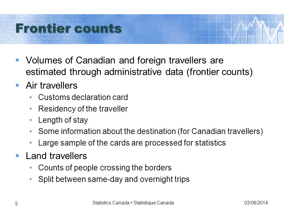 03/06/2014 Statistics Canada Statistique Canada 5 Volumes of Canadian and foreign travellers are estimated through administrative data (frontier counts) Air travellers Customs declaration card Residency of the traveller Length of stay Some information about the destination (for Canadian travellers) Large sample of the cards are processed for statistics Land travellers Counts of people crossing the borders Split between same-day and overnight trips Frontier counts