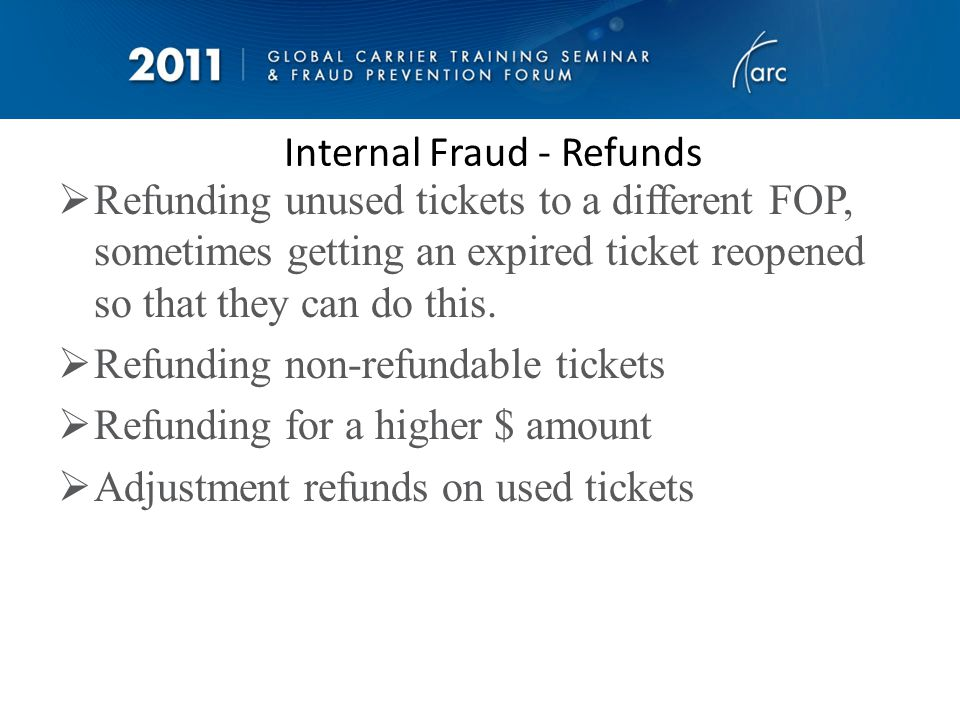 Internal Fraud – Company Credit Cards Personal spend coded as something different Personal spend amongst company spend Multiple cash advances with no corresponding receipts and coded to last cent (no rebanking) History of missing receipts Personal spend not paid back (after saying it was going to be) We random audit as well as run personal spend reports
