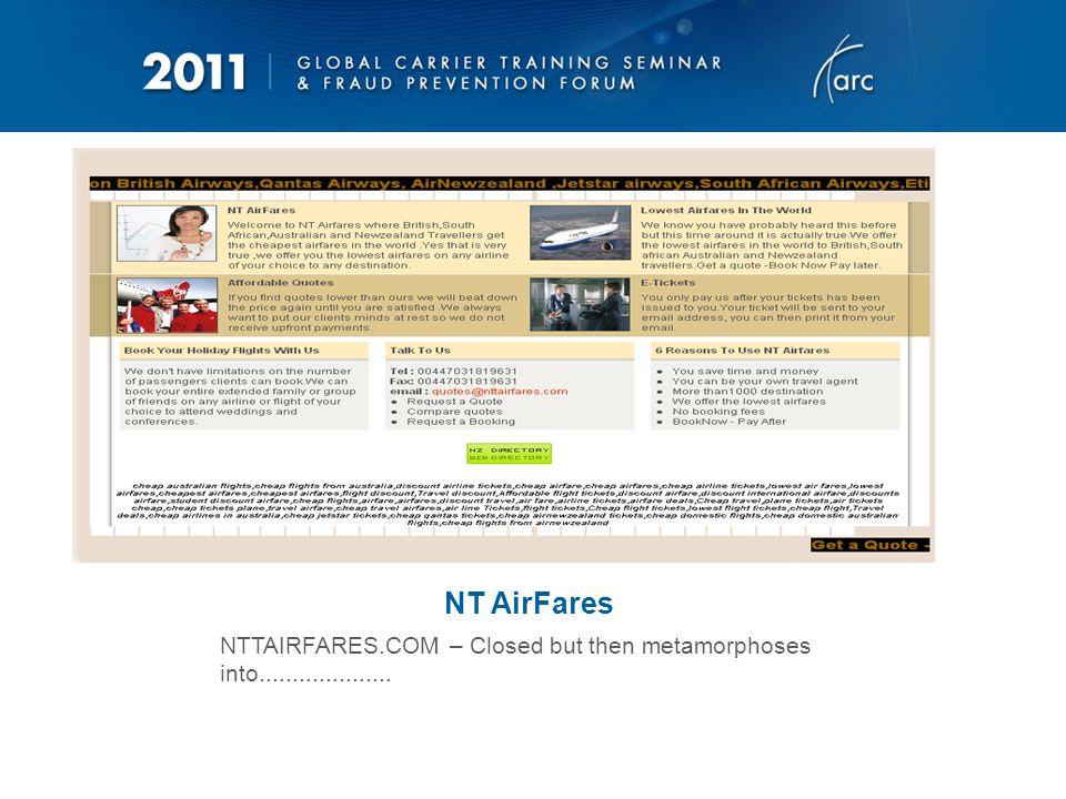 The New NTTAirFares – looks like it was still around 3 weeks ago…..
