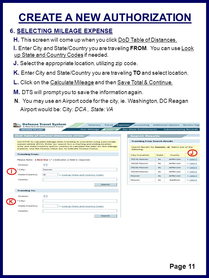 CREATE A NEW AUTHORIZATION Page 11 6.SELECTING MILEAGE EXPENSE H.
