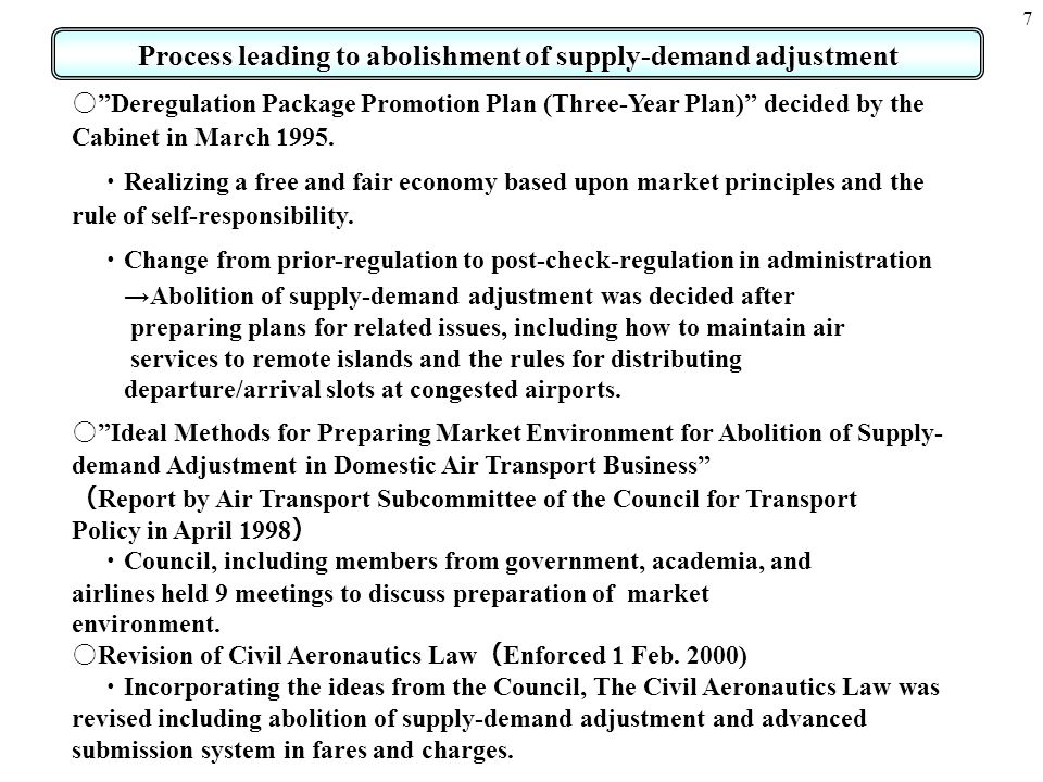 7 Process leading to abolishment of supply-demand adjustment Deregulation Package Promotion Plan (Three-Year Plan) decided by the Cabinet in March 199