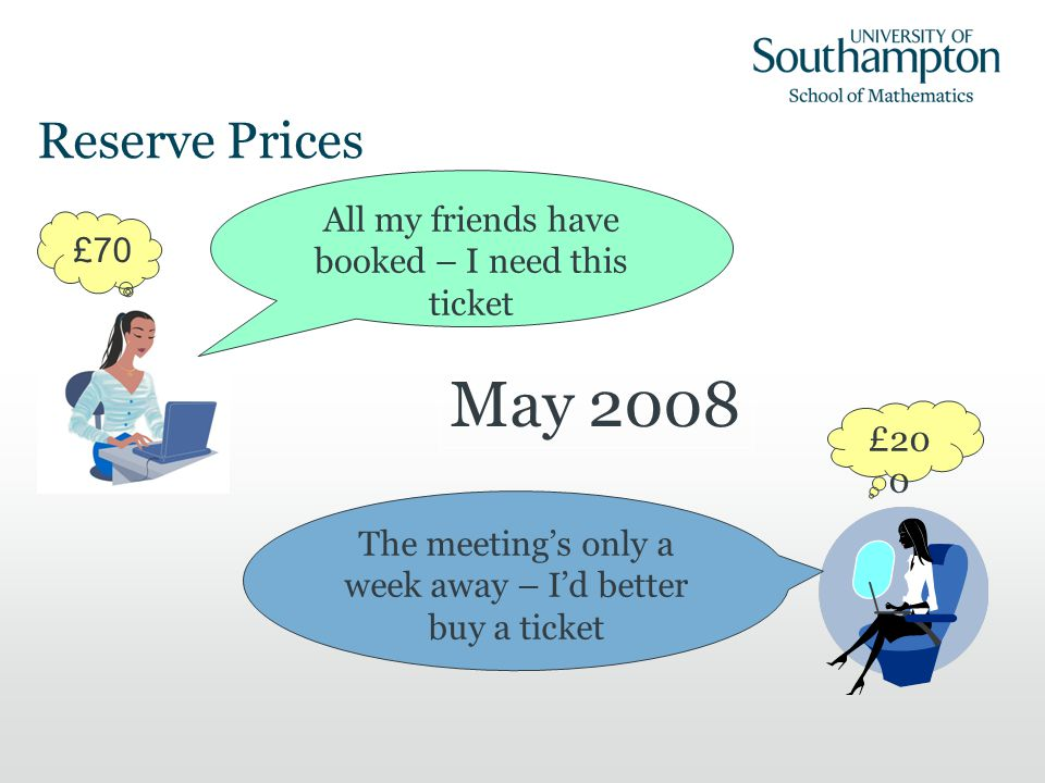Reserve Prices £70 All my friends have booked – I need this ticket The meetings only a week away – Id better buy a ticket £20 0 May 2008