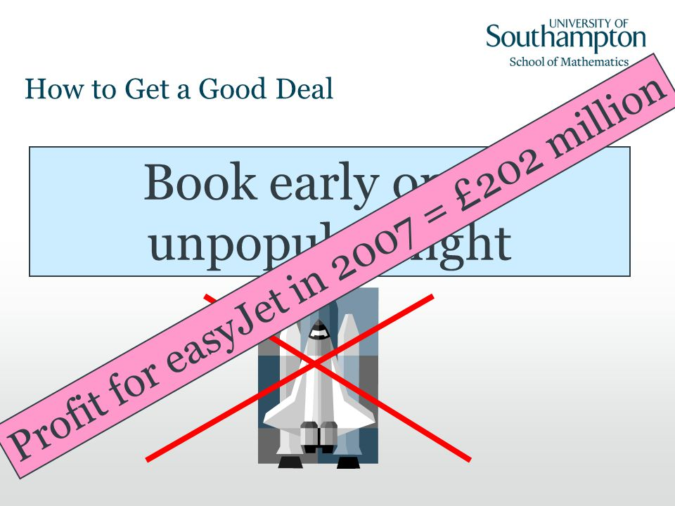 How to Get a Good Deal Book early on an unpopular flight Profit for easyJet in 2007 = £202 million