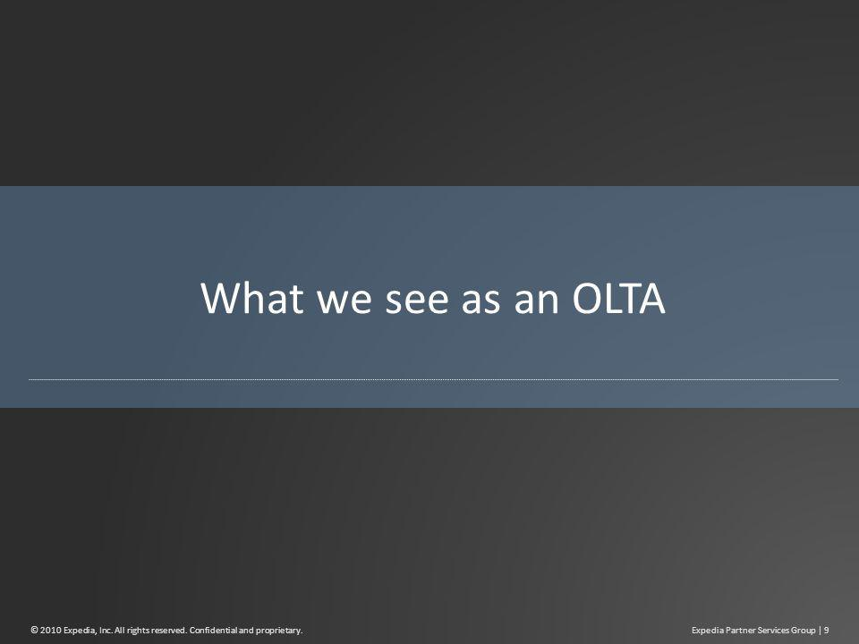 What we see as an OLTA Expedia Partner Services Group | 9© 2010 Expedia, Inc.
