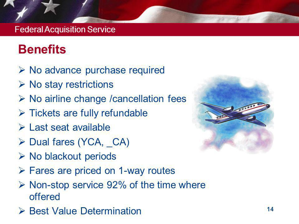 Federal Acquisition Service 14 Benefits No advance purchase required No stay restrictions No airline change /cancellation fees Tickets are fully refundable Last seat available Dual fares (YCA, _CA) No blackout periods Fares are priced on 1-way routes Non-stop service 92% of the time where offered Best Value Determination