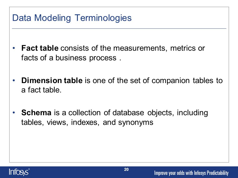 20 Data Modeling Terminologies Fact table consists of the measurements, metrics or facts of a business process.