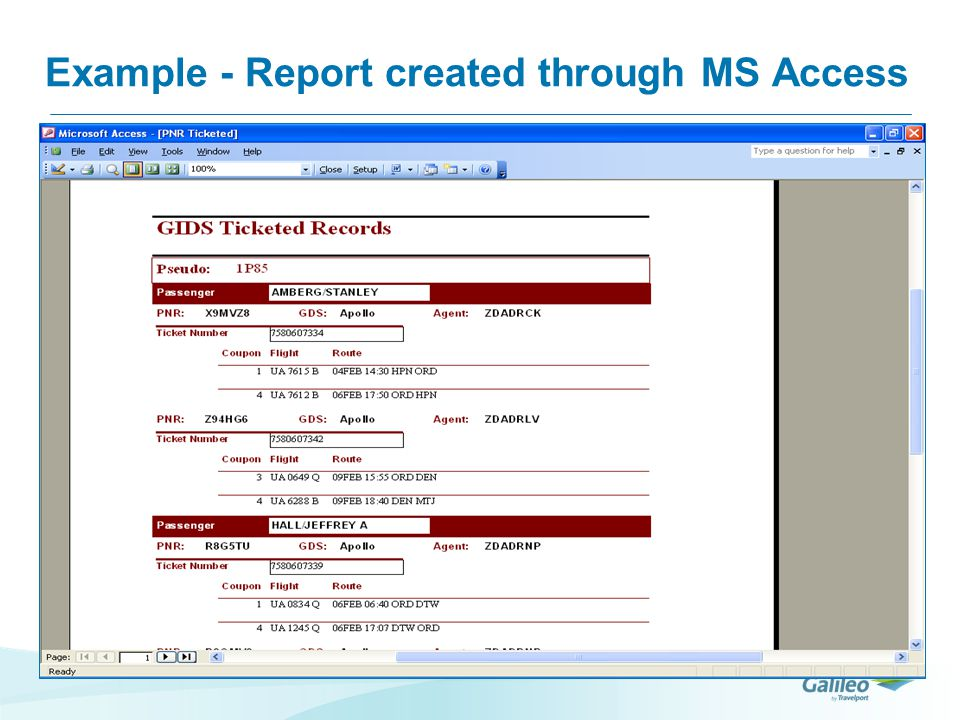 Example - Report created through MS Access
