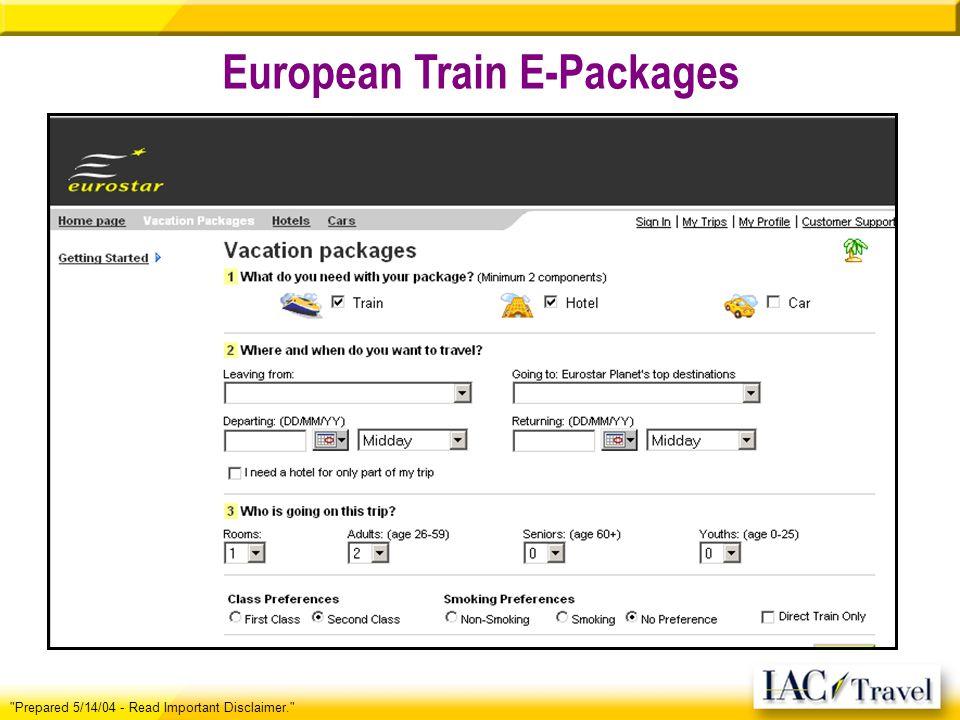 European Train E-Packages Prepared 5/14/04 - Read Important Disclaimer.