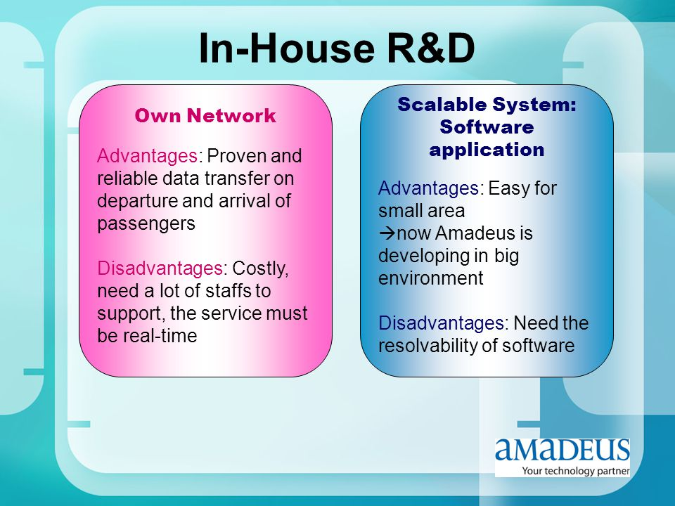 In-House R&D Own Network Advantages: Proven and reliable data transfer on departure and arrival of passengers Disadvantages: Costly, need a lot of sta