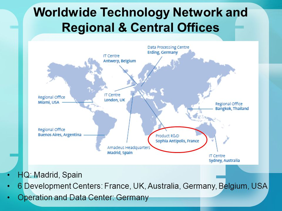 Worldwide Technology Network and Regional & Central Offices HQ: Madrid, Spain 6 Development Centers: France, UK, Australia, Germany, Belgium, USA Oper