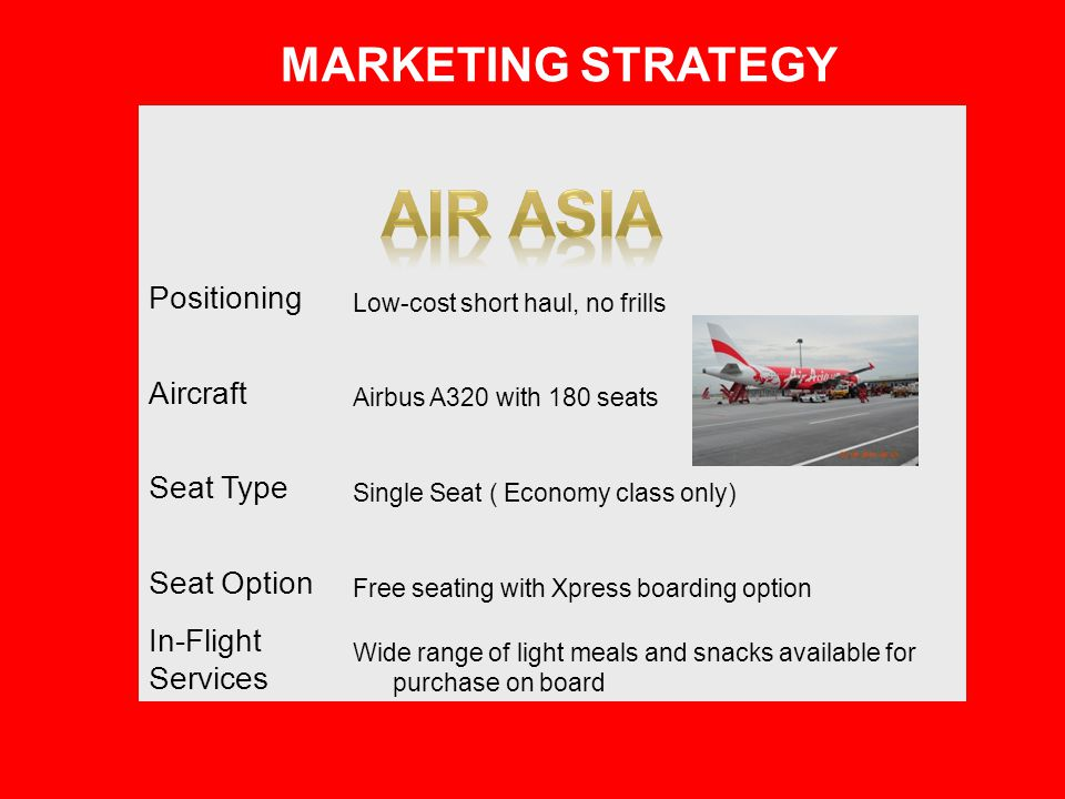Positioning Low-cost short haul, no frills Aircraft Airbus A320 with 180 seats Seat Type Single Seat ( Economy class only) Seat Option Free seating wi