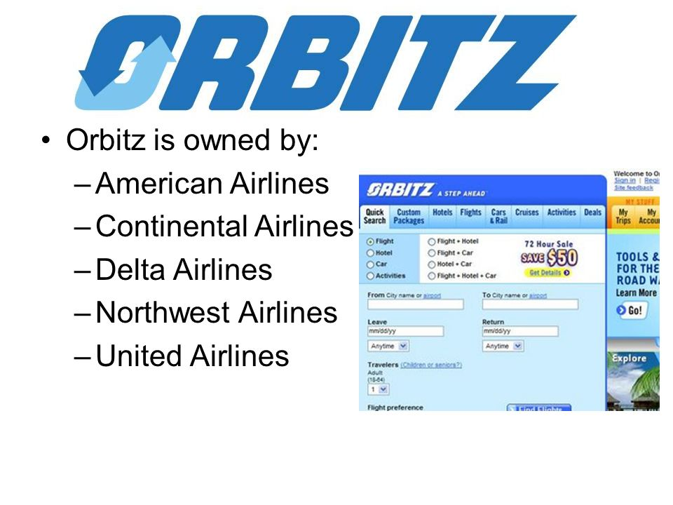 Orbitz is owned by: –American Airlines –Continental Airlines –Delta Airlines –Northwest Airlines –United Airlines
