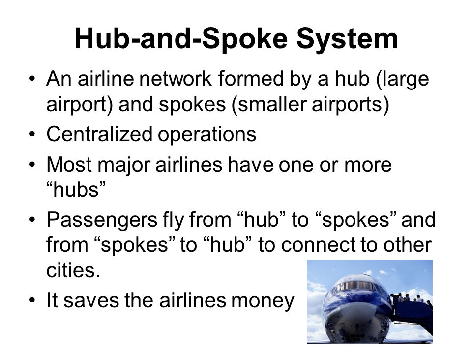 Hub-and-Spoke System An airline network formed by a hub (large airport) and spokes (smaller airports) Centralized operations Most major airlines have one or more hubs Passengers fly from hub to spokes and from spokes to hub to connect to other cities.