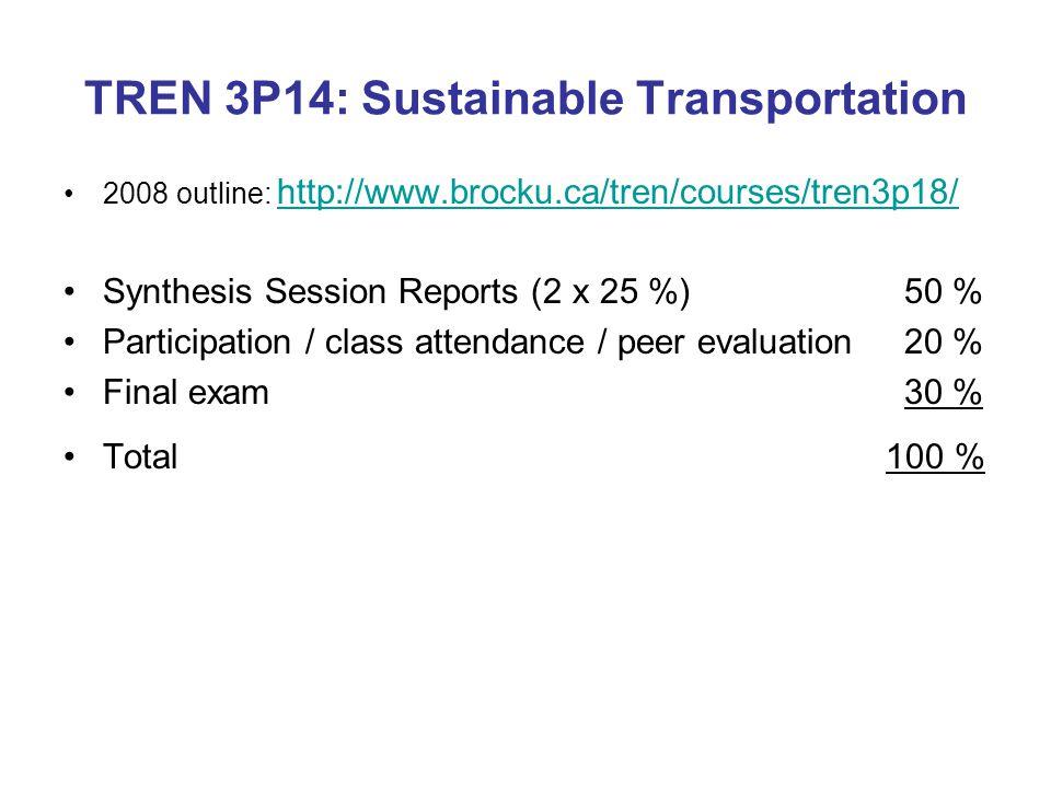 TREN 3P14: Sustainable Transportation 2008 outline: http://www.brocku.ca/tren/courses/tren3p18/ http://www.brocku.ca/tren/courses/tren3p18/ Synthesis Session Reports (2 x 25 %)50 % Participation / class attendance / peer evaluation20 % Final exam30 % Total 100 %