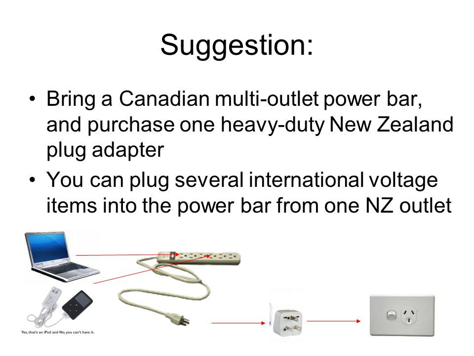 Suggestion: Bring a Canadian multi-outlet power bar, and purchase one heavy-duty New Zealand plug adapter You can plug several international voltage i