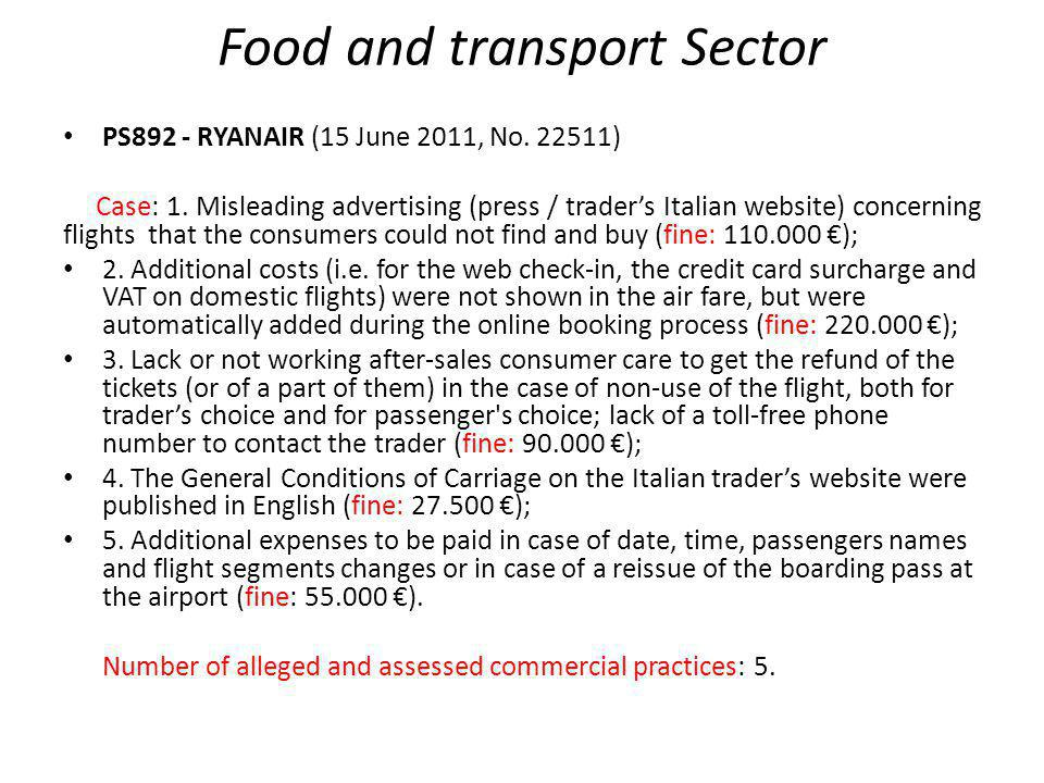 Food and transport Sector IP117, RYANAIR (30 May 2012, No.
