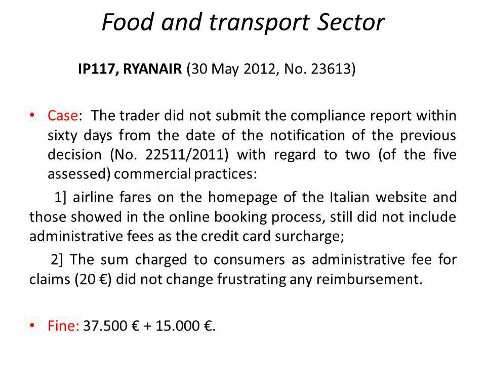 Food and transport Sector IP117, RYANAIR (30 May 2012, No.