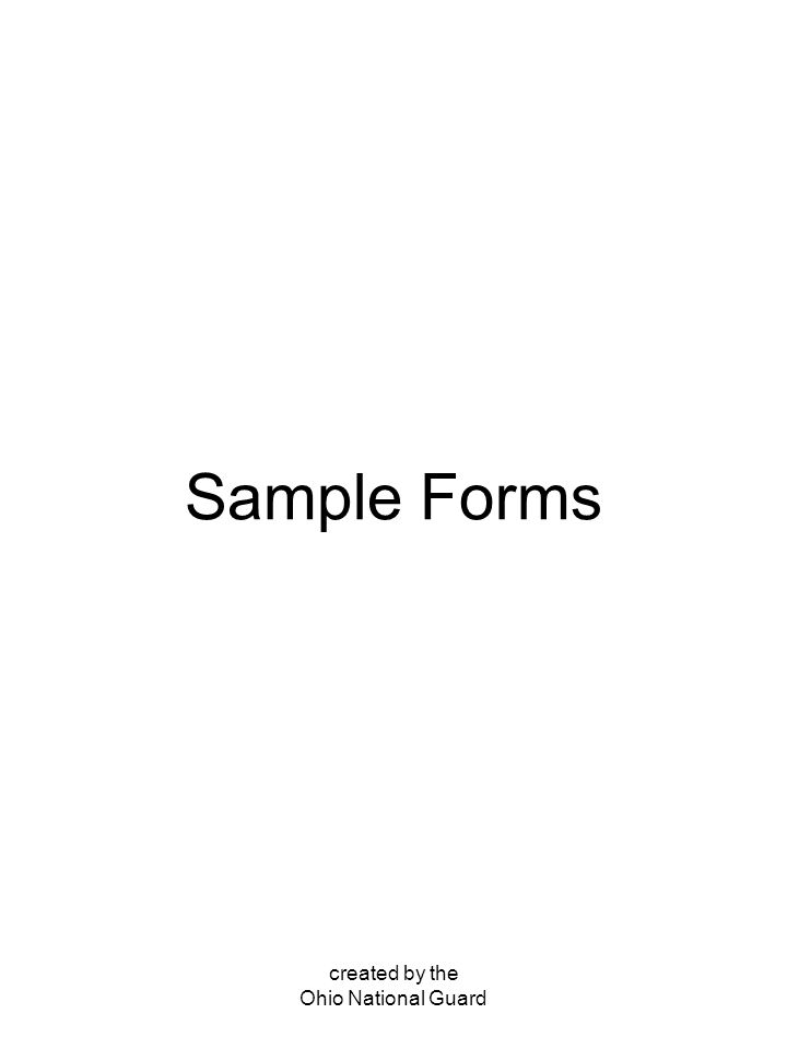 created by the Ohio National Guard Sample Forms