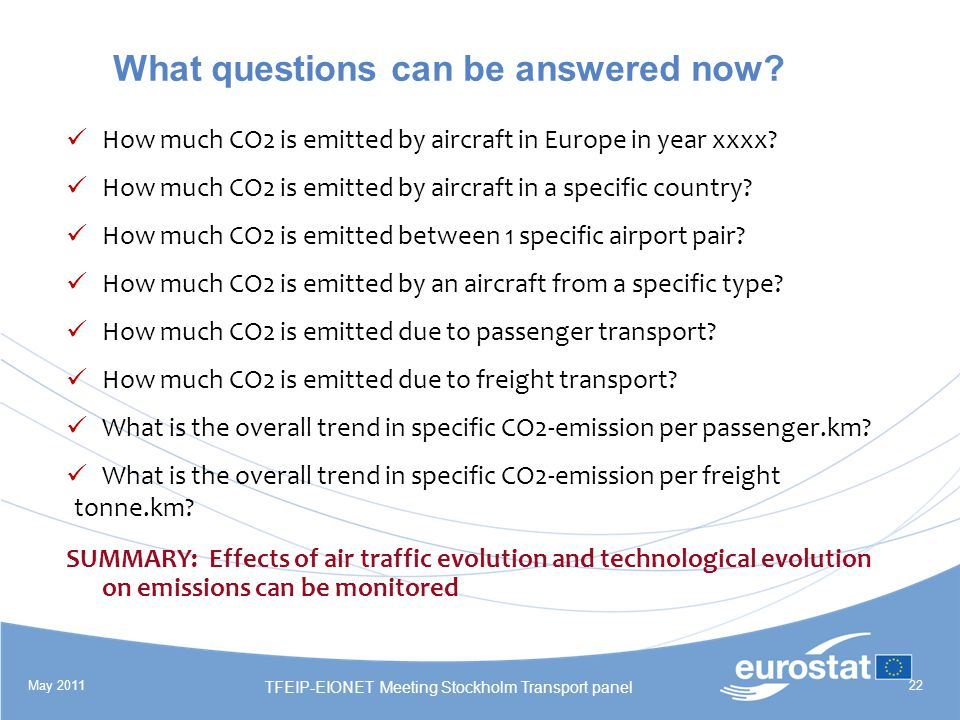 May 2011 TFEIP-EIONET Meeting Stockholm Transport panel 22 What questions can be answered now.