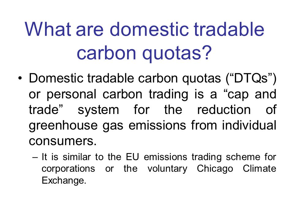 Additional practical problems Technical feasibility –Is it possible to enroll 300 million people into personal carbon trading system.