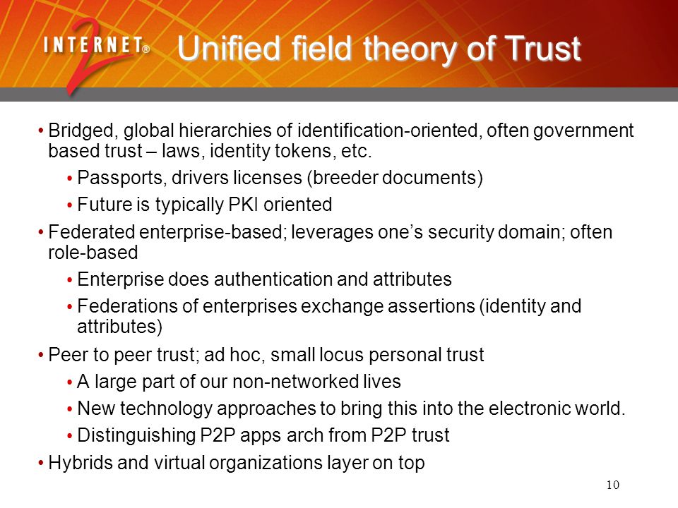 10 Unified field theory of Trust Bridged, global hierarchies of identification-oriented, often government based trust – laws, identity tokens, etc.