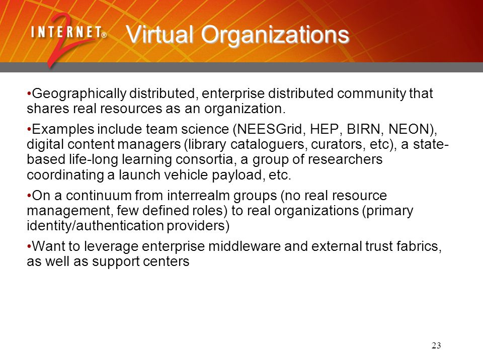 23 Virtual Organizations Geographically distributed, enterprise distributed community that shares real resources as an organization.