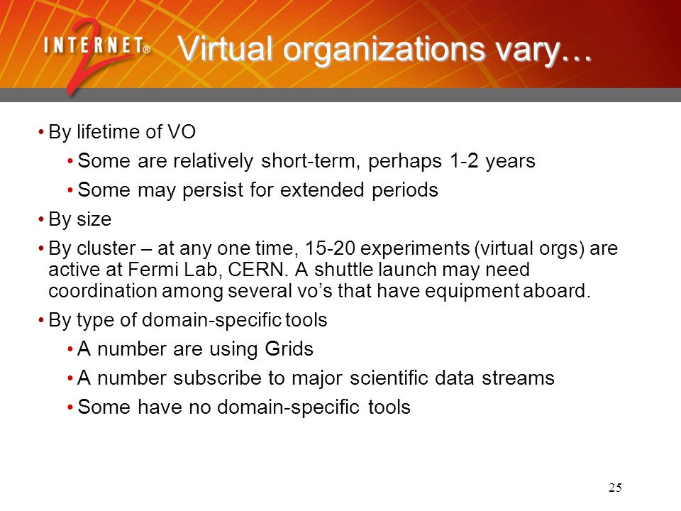 25 Virtual organizations vary… By lifetime of VO Some are relatively short-term, perhaps 1-2 years Some may persist for extended periods By size By cluster – at any one time, 15-20 experiments (virtual orgs) are active at Fermi Lab, CERN.