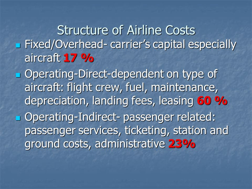 Structure of Airline Costs Fixed/Overhead- carriers capital especially aircraft 17 % Fixed/Overhead- carriers capital especially aircraft 17 % Operating-Direct-dependent on type of aircraft: flight crew, fuel, maintenance, depreciation, landing fees, leasing 60 % Operating-Direct-dependent on type of aircraft: flight crew, fuel, maintenance, depreciation, landing fees, leasing 60 % Operating-Indirect- passenger related: passenger services, ticketing, station and ground costs, administrative 23% Operating-Indirect- passenger related: passenger services, ticketing, station and ground costs, administrative 23%