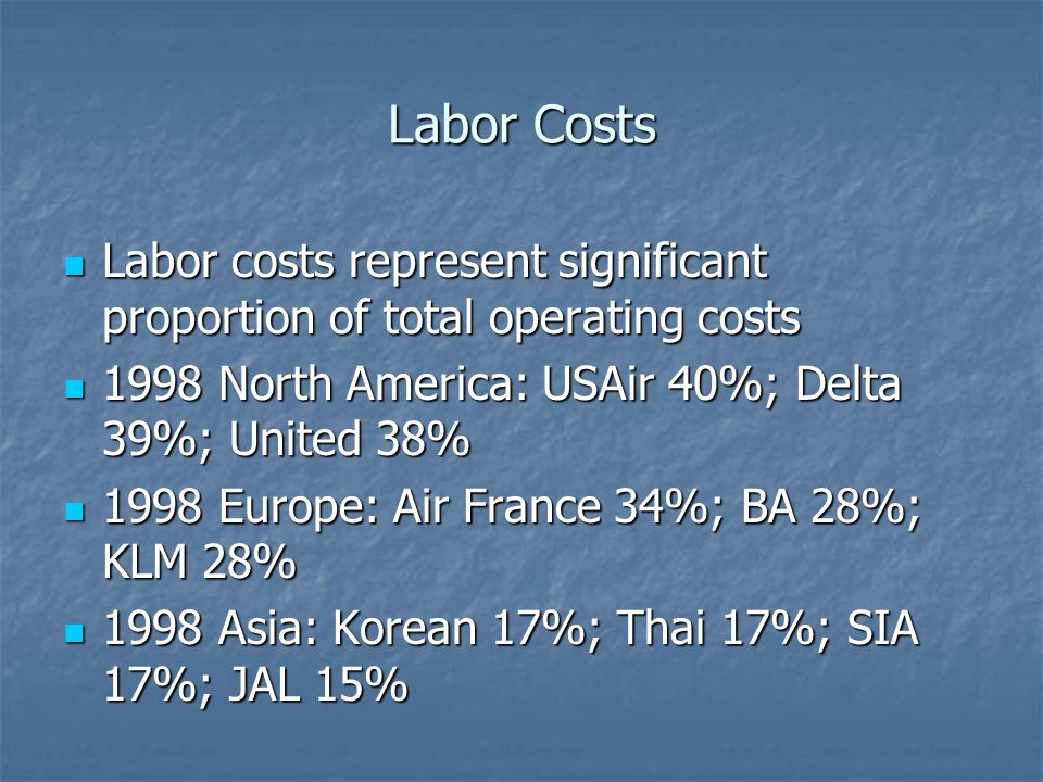 Labor Costs Labor costs represent significant proportion of total operating costs Labor costs represent significant proportion of total operating costs 1998 North America: USAir 40%; Delta 39%; United 38% 1998 North America: USAir 40%; Delta 39%; United 38% 1998 Europe: Air France 34%; BA 28%; KLM 28% 1998 Europe: Air France 34%; BA 28%; KLM 28% 1998 Asia: Korean 17%; Thai 17%; SIA 17%; JAL 15% 1998 Asia: Korean 17%; Thai 17%; SIA 17%; JAL 15%