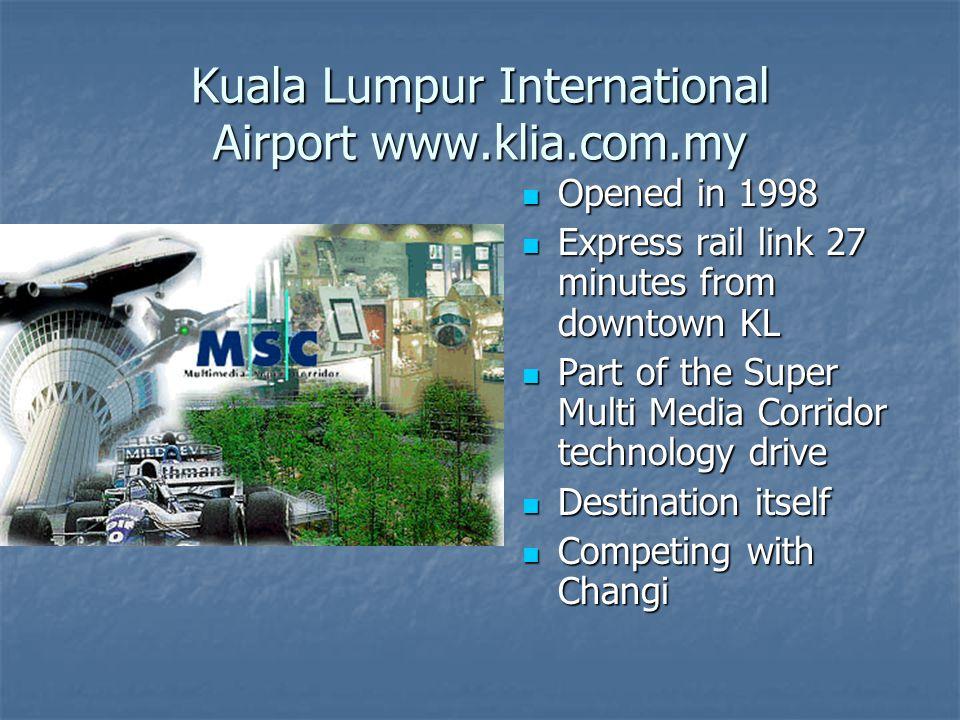 Kuala Lumpur International Airport www.klia.com.my Opened in 1998 Opened in 1998 Express rail link 27 minutes from downtown KL Express rail link 27 mi