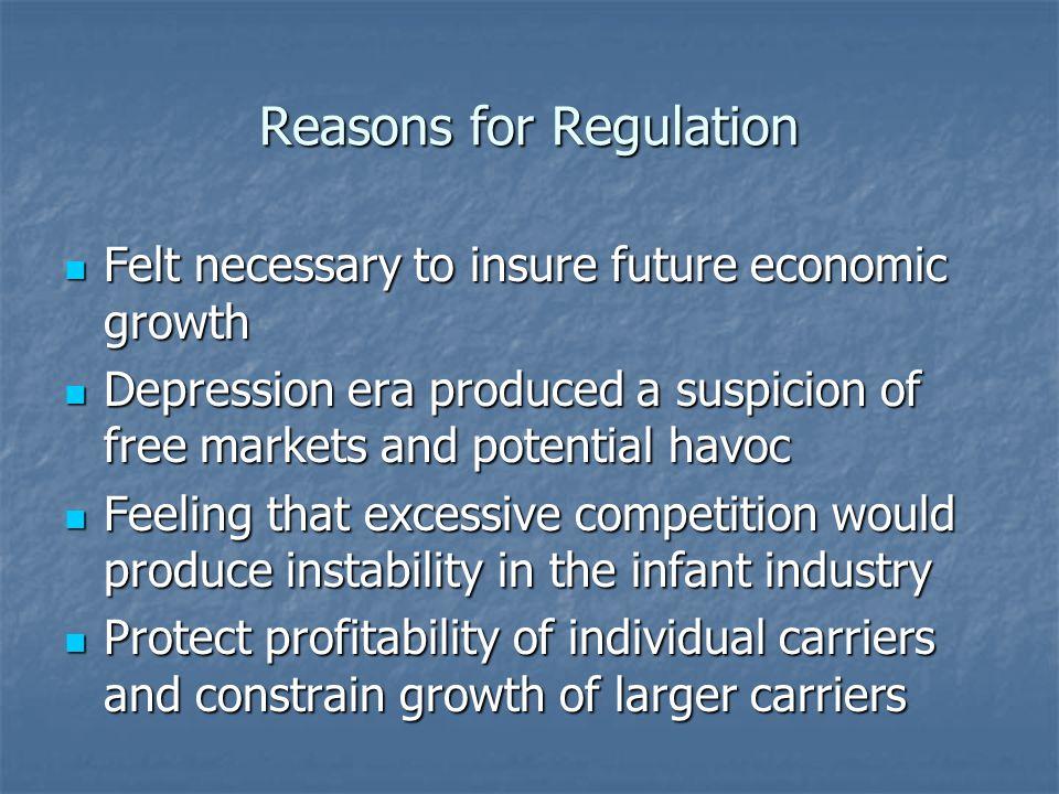 Reasons for Regulation Felt necessary to insure future economic growth Felt necessary to insure future economic growth Depression era produced a suspi