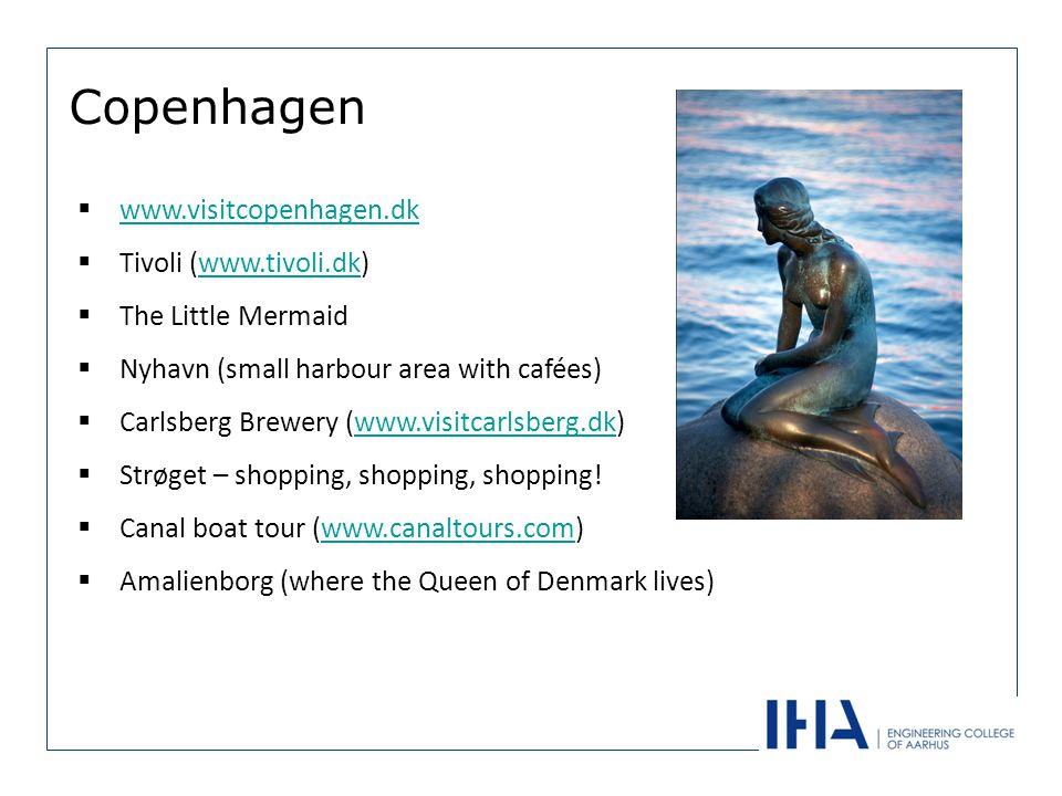 Copenhagen www.visitcopenhagen.dk Tivoli (www.tivoli.dk)www.tivoli.dk The Little Mermaid Nyhavn (small harbour area with cafées) Carlsberg Brewery (www.visitcarlsberg.dk)www.visitcarlsberg.dk Strøget – shopping, shopping, shopping.