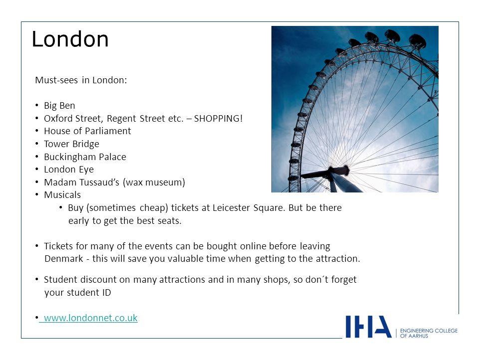London Must-sees in London: Big Ben Oxford Street, Regent Street etc.