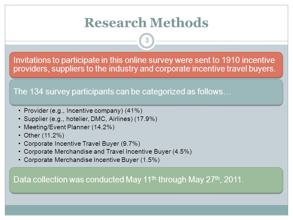 Research Methods Invitations to participate in this online survey were sent to 1910 incentive providers, suppliers to the industry and corporate incentive travel buyers.
