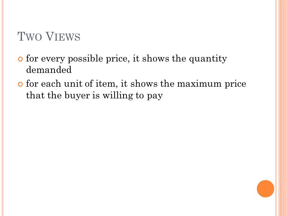 T WO V IEWS for every possible price, it shows the quantity demanded for each unit of item, it shows the maximum price that the buyer is willing to pa