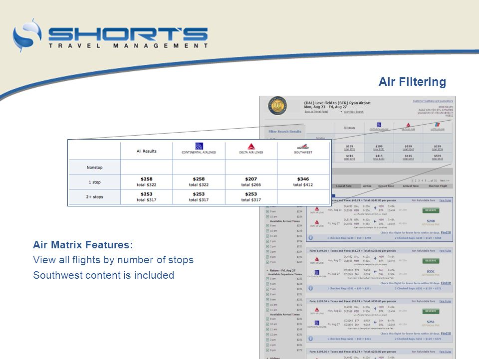 Air Matrix Features: View all flights by number of stops Southwest content is included Air Filtering