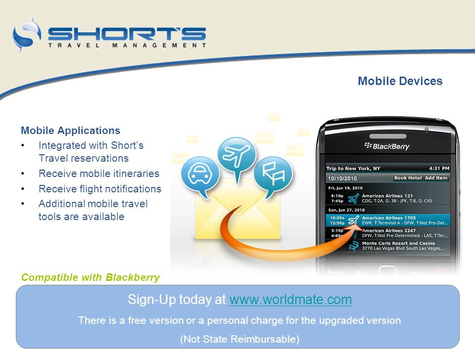 Mobile Applications Integrated with Shorts Travel reservations Receive mobile itineraries Receive flight notifications Additional mobile travel tools