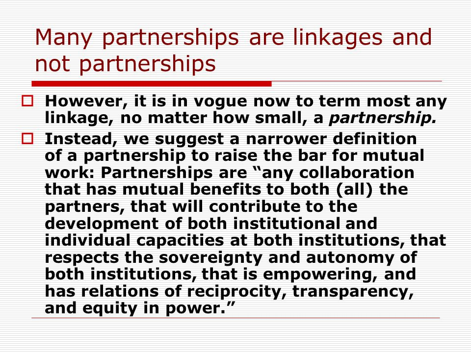 Utilizing partnerships for training and retention Both northern hemisphere and African institutions need capacitation in their knowledge of the other, as well as assistance in offering an internationalized curriculum.