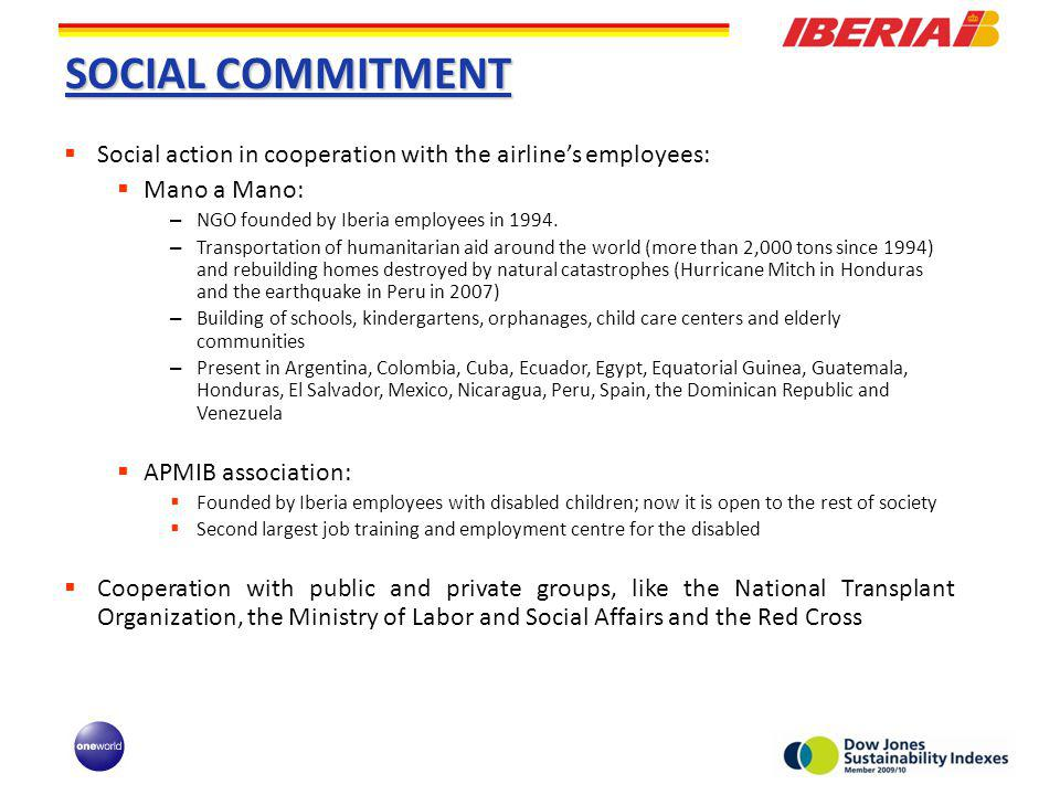 SOCIAL COMMITMENT Social action in cooperation with the airlines employees: Mano a Mano: – NGO founded by Iberia employees in 1994.