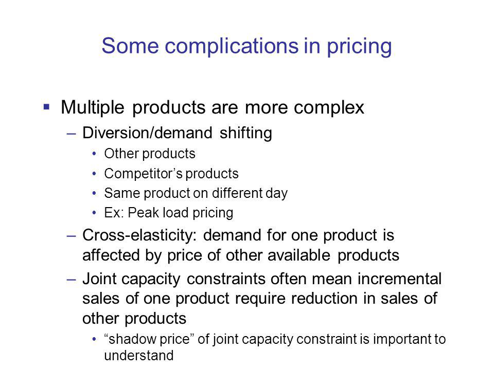Some complications in pricing Multiple products are more complex –Diversion/demand shifting Other products Competitors products Same product on different day Ex: Peak load pricing –Cross-elasticity: demand for one product is affected by price of other available products –Joint capacity constraints often mean incremental sales of one product require reduction in sales of other products shadow price of joint capacity constraint is important to understand