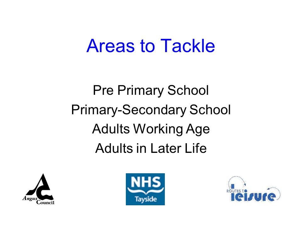 Areas to Tackle Pre Primary School Primary-Secondary School Adults Working Age Adults in Later Life
