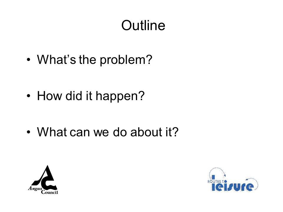 Outline Whats the problem How did it happen What can we do about it
